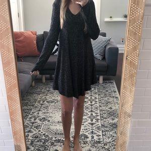 Black heathered knit tunic/ dress